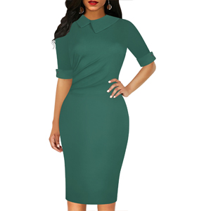 casual dress for women short half sleeve solid green cotton sheath pencil dress work dresses