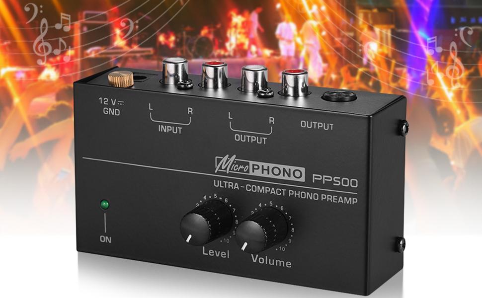 Muslady Phono Preamplificador Preamplificador con Controles de Nivel y Volumen Entrada y Salida RCA 1/4