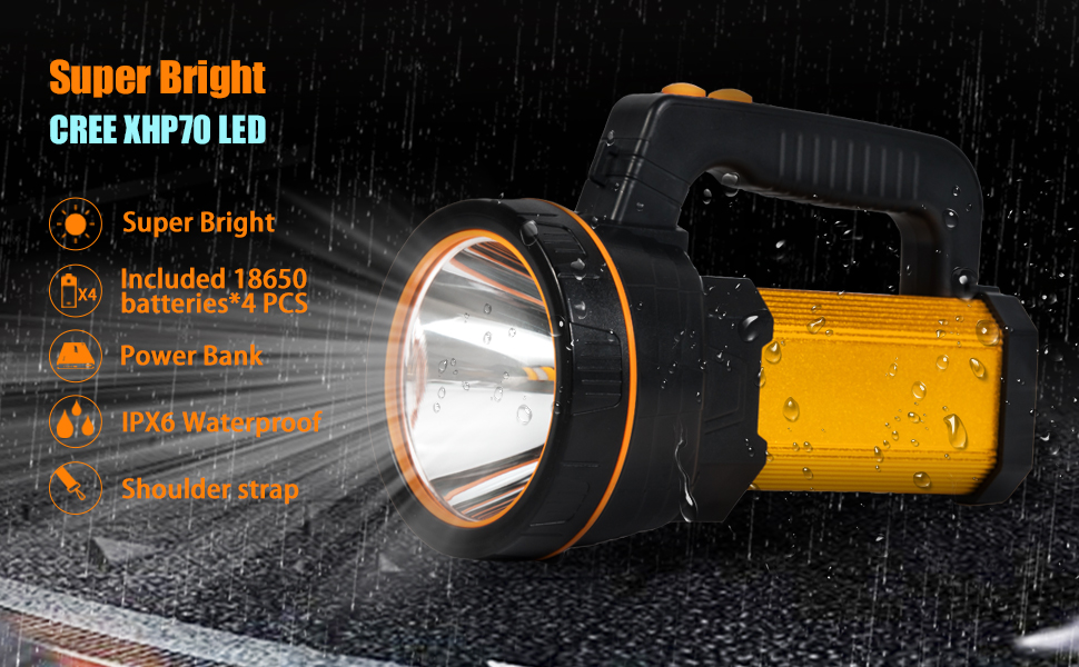 High Powered LED Spotlight Flashlight  Searchlight Rechargeable