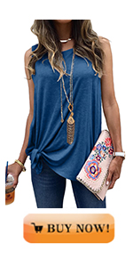 MODARANI Side Tie Knot Tank Tops for Women Casual Sleeveless Shirts Solid Color Soft and Comfy
