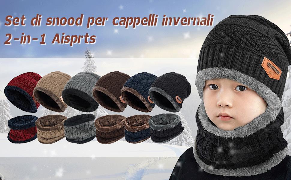 kids grigio rosso adulto blu nero kaki 2 in 1 berretto lavorato a maglia e set sciarpa circolare