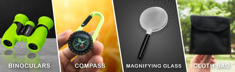 Binoculars compass Magnifying Glass Cloth Bag