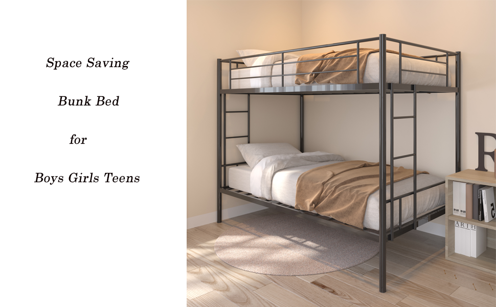 twin over twin metal bunk bed for kids adults
