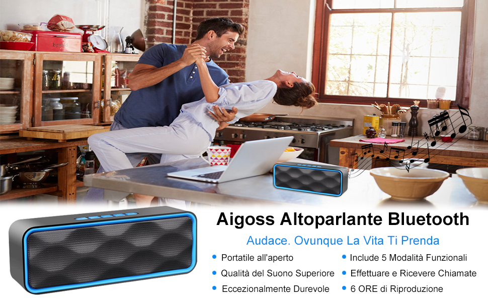 Aigoss Cassa Bluetooth