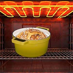 Enameled Cast Iron Covered Dutch Oven, Pot with Lid and Two  Natural Non-Stick Slow Cook