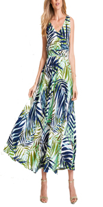 Women's Summer Boho V Neck Vintage Print Floral Maxi Beach Long Dress
