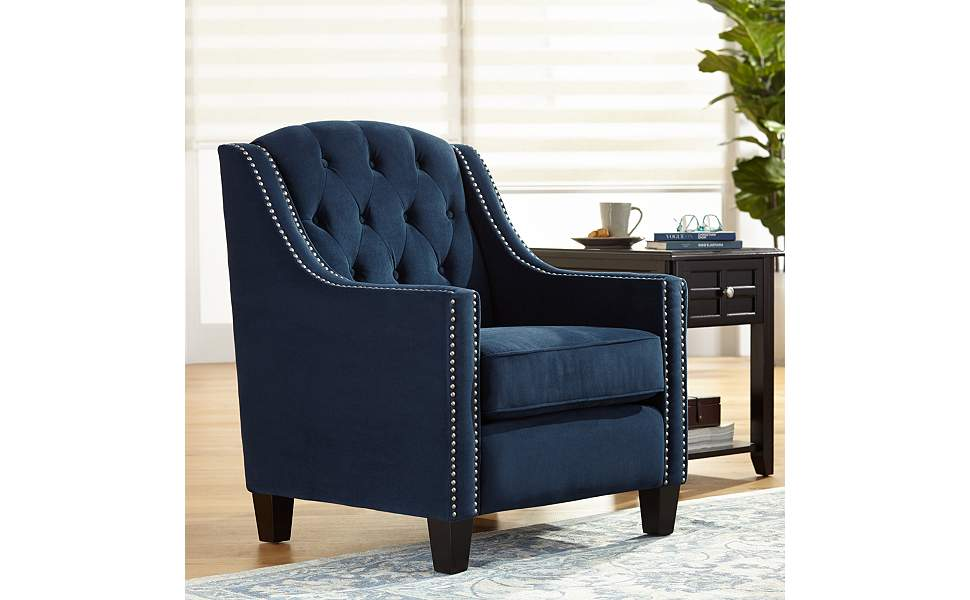 tivoli bella ink blue velvet tufted armchair 55 downing street