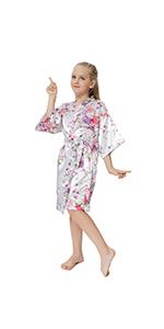 floral satin robe for flower girls kid's sleepwear sleepover pajamas silky bathrobe for spa party