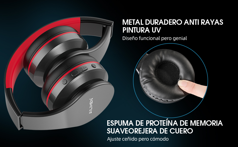 AILIHEN A80 Audífonos Inalámbricos Bluetooth 5.0 Plegables Sobre Oreja con Micrófono Hi-Fi Estéreo, Soporte con Tarjeta TF, Modo MP3, 25H Tiempo de ...
