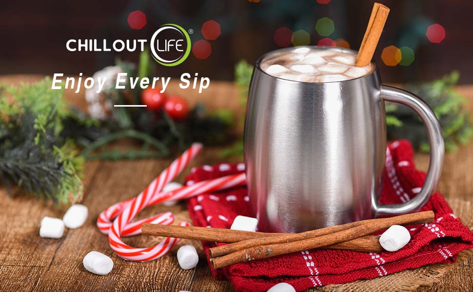 CHILLOUT LIFE Vacuum Insulated Stainless Steel Coffee Mug with Handle and Lid