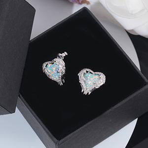 heart opal earrings for women girls