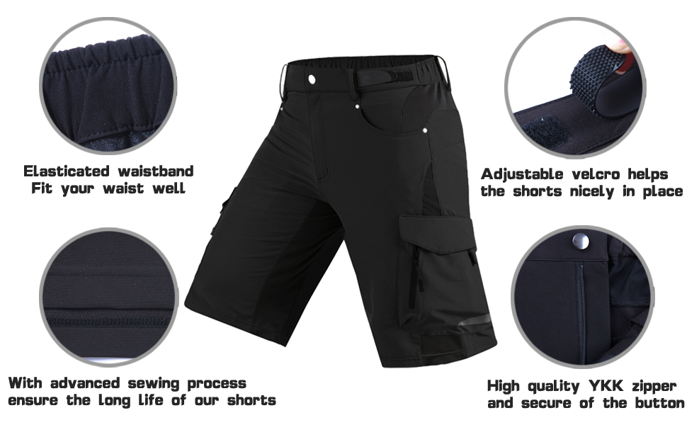 WOSAWE Herren Radhose Fahrrad kurze Hose gepolsterte elastisch MTB Bike Shorts