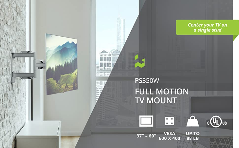 Kanto ps350W full motion tv wall mount supports up to 60 inch tvs weighing up to 88 pounds