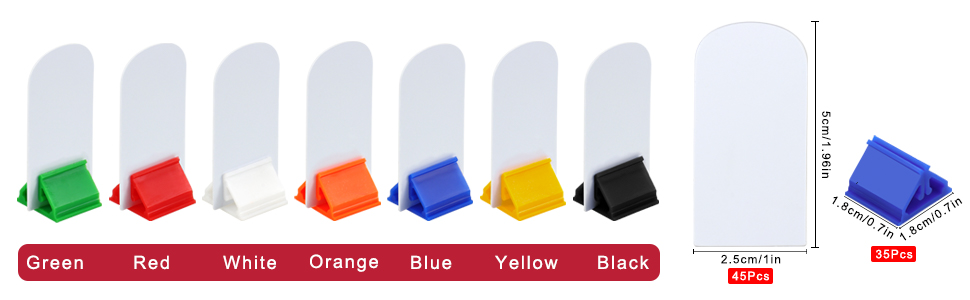 45 pcs blank game board marker cards, 35 Pieces game card stands in 7 different color