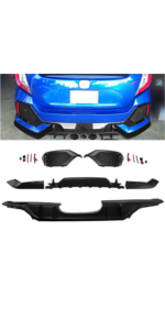 MotorFansClub Rear Bumper Cover Conversion Kit fit for compatible with Honda Civic Hatchback Type R 2017-2018 Black