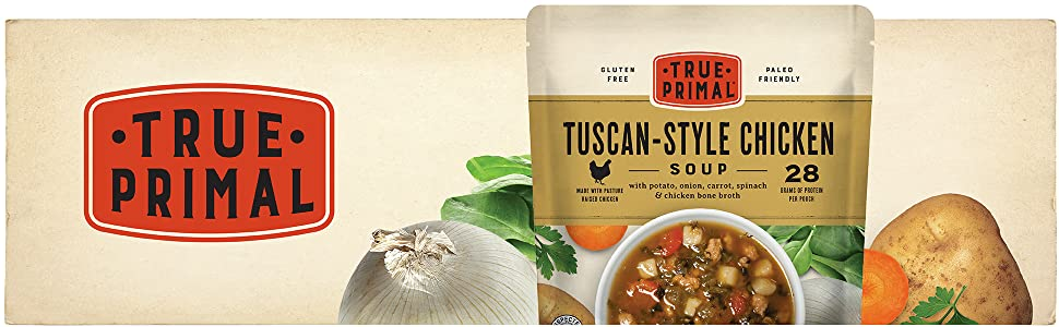True Primal Tuscan-Style Chicken Soup pouch and ingredients