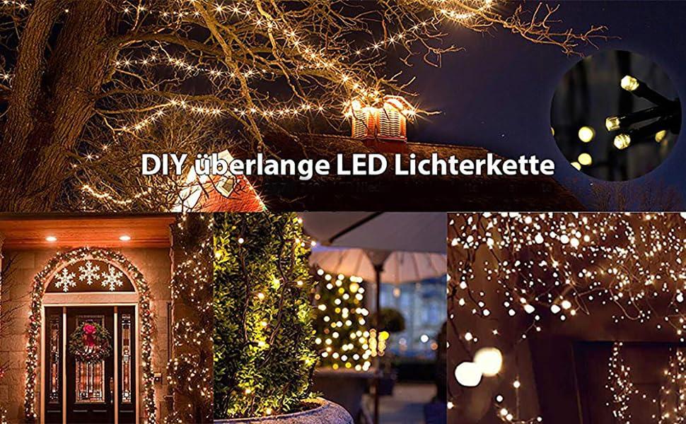 SALCAR 25.7m 360 Leds Cadena de Luces IP44 Impermeable, LED Luz Cadena Ligera Navidad, Led Cadena Luminosa con 8 Modos, Led Decoración Interior Exterior para Jardín Balcón Fiestas (Blanco cálido): Amazon.es: Iluminación