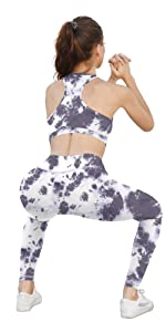 Purple Tie Dye Workout Set for Women 2 Piece