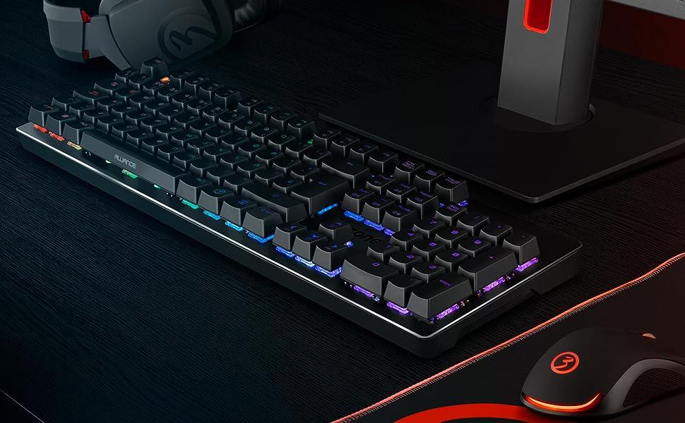 Teclado Gaming Ozone Alliance Híbrido Mecanico - Keyboard gamer - Switches híbridos CrossTech, 9 Efectos de Iluminación, Tecnología Reactiva, ...