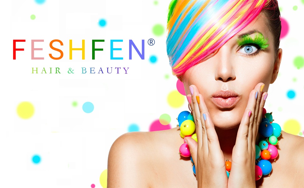 FESHFEN Colored Clip in Hair Extensions Multi-Colors Party Highlights Clip in Hairpiece for Kids