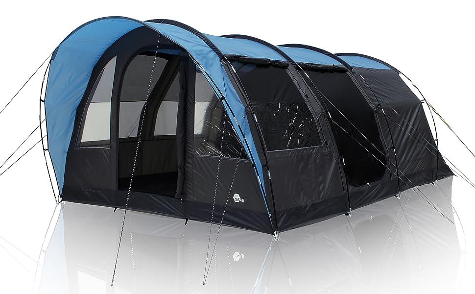 your GEAR Bora - Tienda de campaña tipo túnel para 5 personas, altura alta, resistente al agua, 5000 mm, protección UV 50+, color azul y gris: Amazon.es: Deportes y aire libre