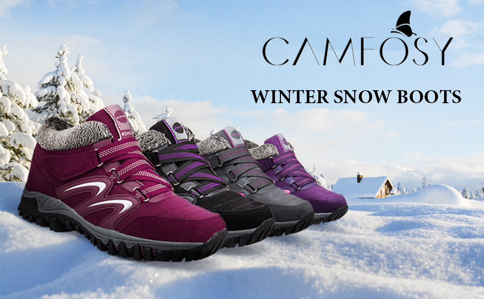 Winter Waterproof Ankle Boots Anti-Slip Shoes Fur Lined Outdoor Lace- Up Lightweight Breathable