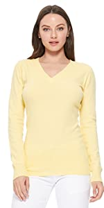 YEMAK Women's Long Sleeve Crewneck Casual Soft Knit Pullover T-Shirt Sweater