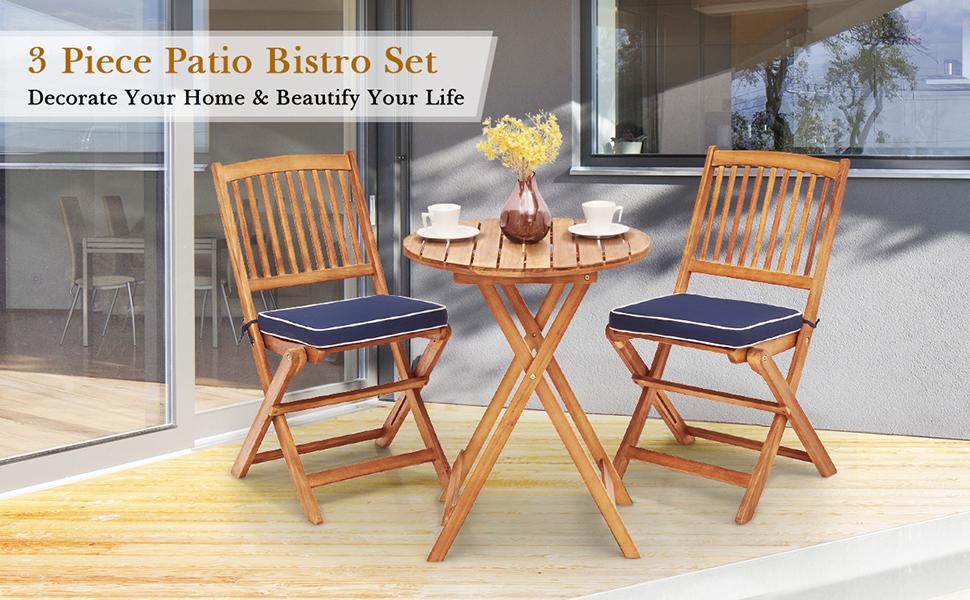 wood bistro set