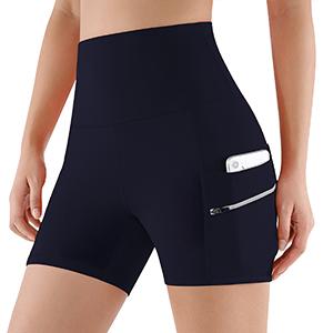 "ODODOS Dual Pocket High Waist 4"" Yoga Shorts"
