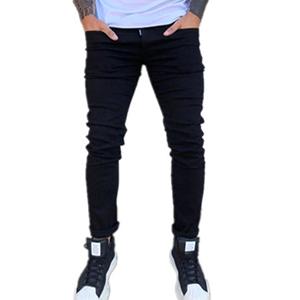 black jeans men skinny slim fit design fashion cut ripped distressed vintage dark biker hip hop