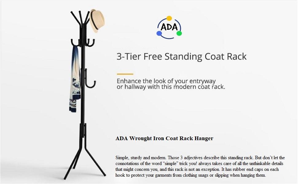 ADA Coat Rack Coat Tree Hat Hanger Holder 11 Hooks for Jacket Umbrella Tree Stand with Base Metal
