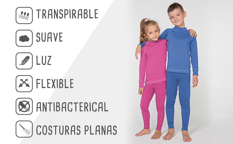 ropa camiseta térmica manga larga pijama invierno interiores pantalon termico niña niño conjunto