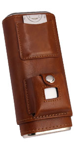 brown cigar case with cutter and lighter