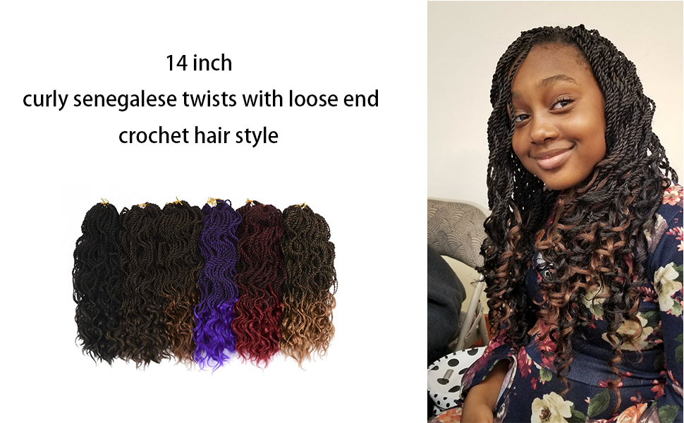 """Leyoo 14"""" Curly Senegalese Twist Crochet Hair With Loose End"""