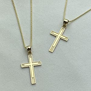 14K Yellow Gold Cross Charm Necklace
