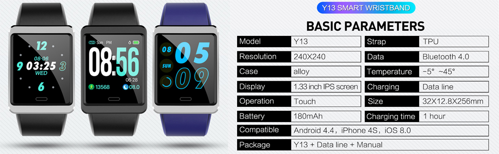 Y13 smart wristband