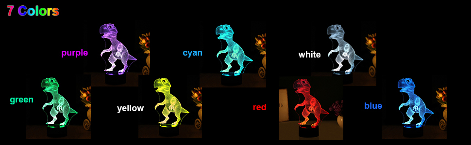 dinosaur 3d night light lamp for kids Christmas Xmas gift boys girls