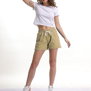khaki drawstring elastic waist shorts