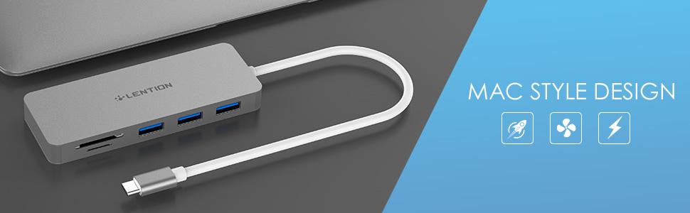 Multiport USB-C Hub Mac Style Design