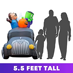 halloween inflatable yard decoration car hearse monster