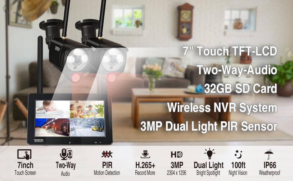 7inch monitor portable 4CH camera system with 2PCS cameras and 32GB SD card