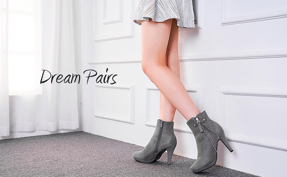 DREAM PAIRS Women KAILEY Suede Side Zipper Platform Comfy High Heel Ankle Boots