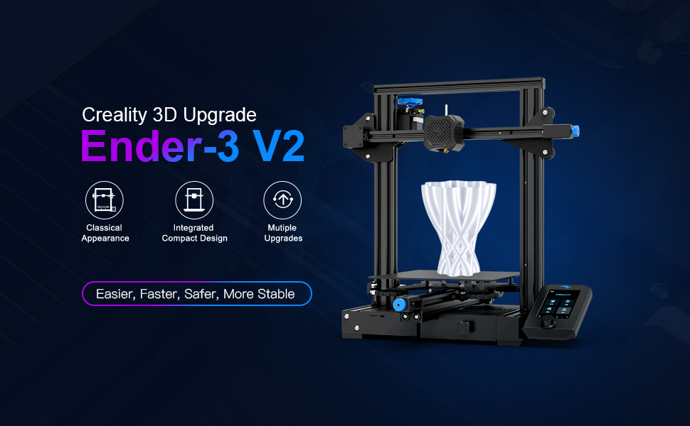 Upgrade Creality Ender-3 V2 3D Printer with Silent Motherboard Meanwell  Power Supply Carborundum Glass Platform and Resume Printing 220x220x250mm:  Amazon.com: Industrial & Scientific