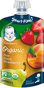 Gerber(ガーバー) 2nd Foods(セカンドフーズ) モグモグ期 オーガニック ベビーフード 離乳食 梨、桃、いちご パウチタイプ