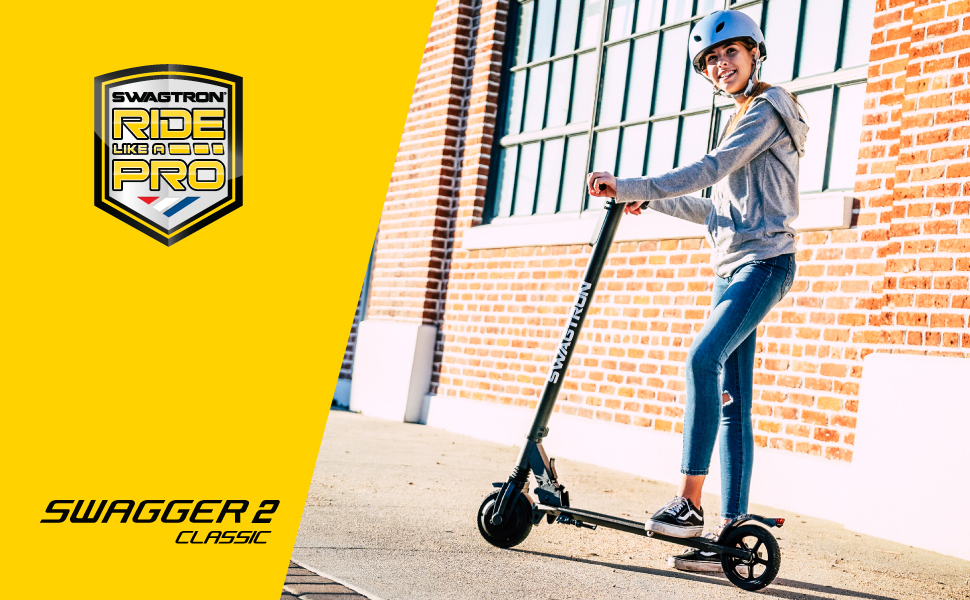 Swagtron Swagger Classic Foldable Electric Scooter, Cruise Control, 200W Hub Motor, Maintenance-Free Tires & More (SG-2)