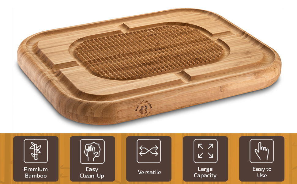 natural bamboo cutting board with deep juice grooves