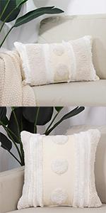 boho pillow civer tufted square lumbar