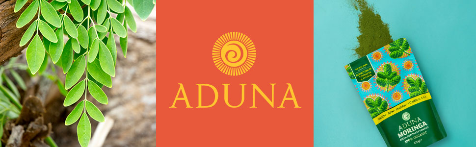 Aduna moringa banner. Trio of images; moringa tree, aduna logo and pouch of Aduna moringa powder