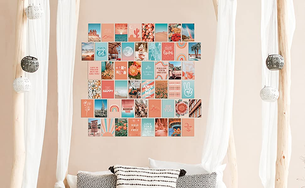 Amazon Com Artivo Peach Teal Aesthetic Wall Collage Kit 50 Set 4x6 Inch Vsco Girls Bedroom Decor Orange Boho Dorm Wall Decor Photo Collection Posters Prints