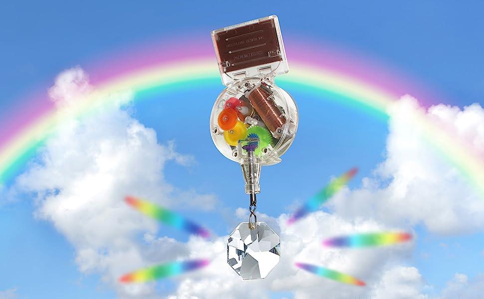 kikkerland solar powered rainbow maker w/ swarovski crystal - 1588 action